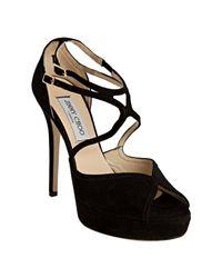 Jimmy Choo | Black Suede Fairview Peep Toe Platform Sandals | Lyst
