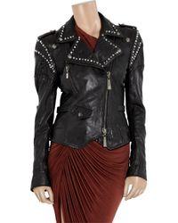 Just Cavalli Black Studded Cracked-leather Jacket
