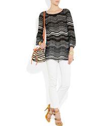 M Missoni | Black Striped Crochet-knit Cotton-blend Top | Lyst