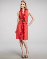 MILLY | Red Danielle Ruffled Dress | Lyst