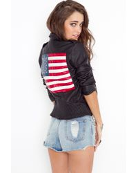 Nasty Gal | Black Americana Moto Jacket | Lyst