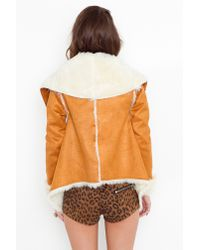Nasty Gal | Natural Chelsea Shearling Coat - Camel | Lyst
