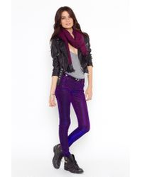 Nasty Gal | Purple Shine On Jeans | Lyst