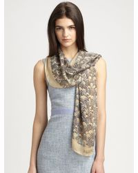 Valentino - Natural Feather Print Oblong Silk Scarf - Lyst