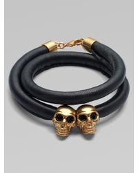 Alexander McQueen | Black Double Wrap Leather Double Skull Bracelet | Lyst