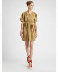 3.1 Phillip Lim | Natural Short-sleeve Dress with Gathered Waist | Lyst