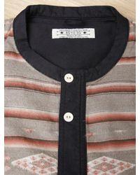 Sasquatchfabrix Brown Mens Collarless Guatemala Shirt for men