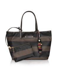 Sonia Rykiel Gray Charms GM- Large Striped Tote Bag