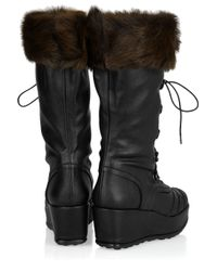 Stuart Weitzman | Black Jungfrau Leather and Shearling Calf Boots | Lyst