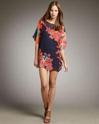 Trina Turk Blue Anissa Chiffon Party Dress