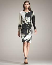 Armani | Black Floral-Print Silk Dress | Lyst