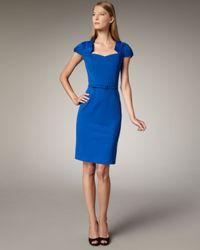 David Meister | Blue Belted Cap-sleeve Dress | Lyst