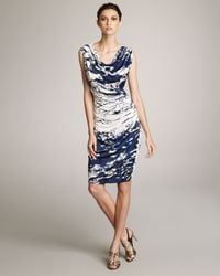 ESCADA - Blue Splash-print Jersey Dress - Lyst