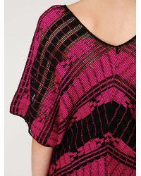 Free People - Black Colorblock Short Sleeve Sweater - Lyst