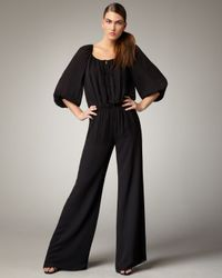 Halston | Black Peasant-top Jumpsuit | Lyst