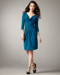 Issa Blue Cowl-neck Silk Jersey Dress