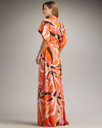 Issa Orange Short-sleeve Kimono Maxi Dress