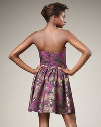 Jay Godfrey | Purple Metallic Floral-print Dress | Lyst