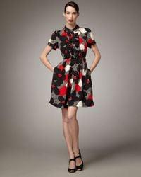 kate spade new york - Black Nellie Floral-print Dress - Lyst