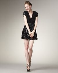 Badgley Mischka Black Sequin-skirt V-neck Dress