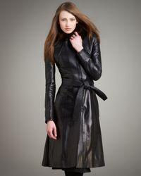 Narciso Rodriguez Black Fur-collar Long Leather Coat