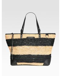 Rebecca Minkoff | Black Endless Love Straw & Leather Tote Bag | Lyst