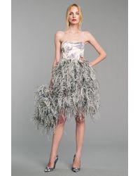 Oscar de la Renta White Feather Dress