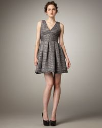 Shoshanna - Metallic V-neck Party Dress - Lyst