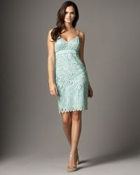 Sue Wong Green Embroidered Sheath Dress