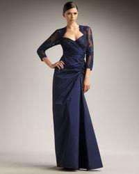 Tadashi Shoji | Blue Lace-detail Taffeta Gown | Lyst