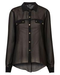 TOPSHOP Black Slit Back Chiffon Shirt