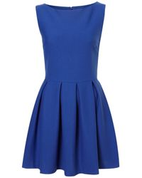TOPSHOP | Blue Structured Skater Dress | Lyst