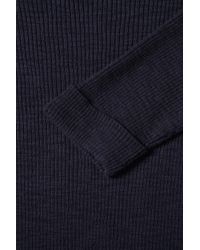 TOPSHOP - Blue Knitted Rib Slash Neck Top - Lyst