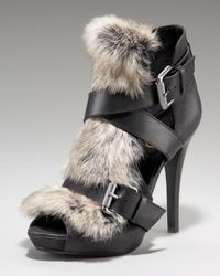 Ash | Black Exclusive Rabbit Fur Sandal | Lyst