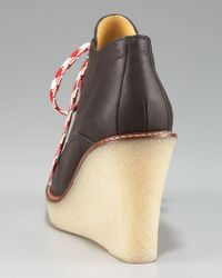 Bettye Muller Brown Lace-up Wedge Bootie