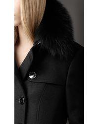 Burberry - Black Fur Collar Trench Coat - Lyst