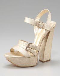 Casadei - Metallic Chunky-heel Platform Sandal - Lyst
