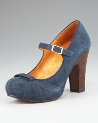 Chie Mihara Blue Suede Mary Jane