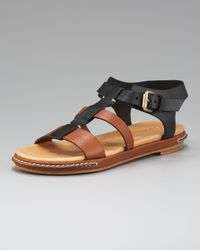 Chloé | Black Banded Colorblock T-Strap Sandal | Lyst
