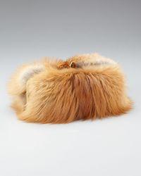 Christian Louboutin | Brown Anastasia Fox Fur Clutch | Lyst