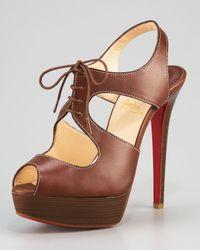 Christian Louboutin Brown Serena Lace-up Sandal