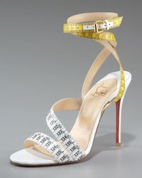 Christian Louboutin | White Measuring Tape Sandal | Lyst