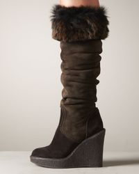 Donna Karan Brown Fur-Trim Wedge Boot
