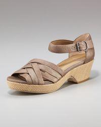 Eileen Fisher | Gray Crisscross Wedge Sandal | Lyst