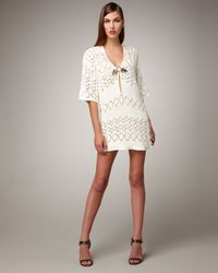 Emilio Pucci | Natural Crocheted Tunic with Applique | Lyst