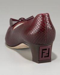 Fendi - Brown Snake-print Kitten-heel Pump - Lyst
