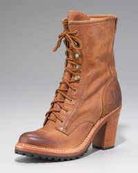 Frye - Brown Lucy Lace-up Heel Boot - Lyst
