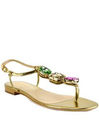 kate spade new york | Faith Jewel - Gold Metallic Leather Jeweled Thong Sandal | Lyst