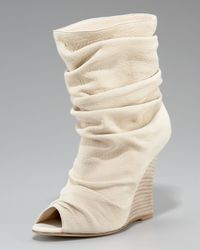 Manolo Blahnik | Natural Peep-toe Slouched Wedge Bootie, White | Lyst