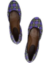 Marni | Purple Printed Leather Ballet Flats | Lyst